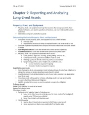 Chapter 9 - Reporting and Analyzing Long-Lived Assets