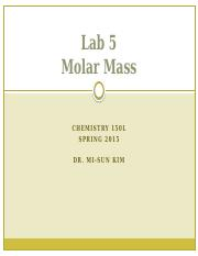 Molar mass - LECTURE