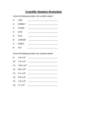 2 pages scientific notation worksheet - Scientific Notation Worksheet