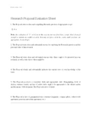 Research Proposal Evaluation Sheet