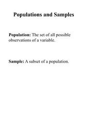 Lecture Slides - Populations, Samples, Probability