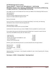 ACC702 Week 2 Tutorial Exercise SUGGESTED SOLUTIONS Chs 2 and Ch 4 Costs in MFG - Job Costing