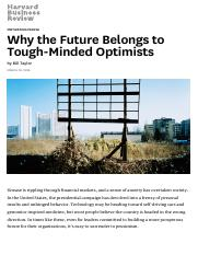 Why the Future Belongs to Tough-Minded Optimists