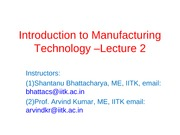Manufacturing Processes (ME361) Lecture 2