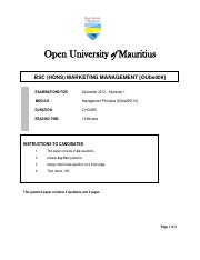 BSC MARKETING MGT - MANAGEMENT PRINCIPLES