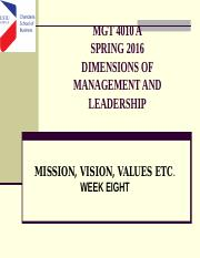 Week 8 VISION, VISION AND VALUES-SPRING 2016