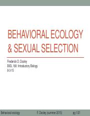 25 Behavioral ecology & sexual selection after class update