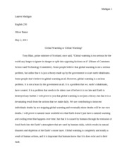 Global Warming Paper - Final Copy