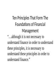 Ten Principles of Finance (1)