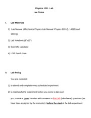 Lab guidelines for Physics 1201
