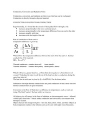 Conduction Convection Notes