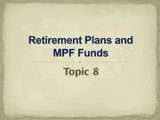 Retirement Planning and MPF