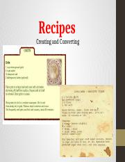Recipes-Convertion and Creation