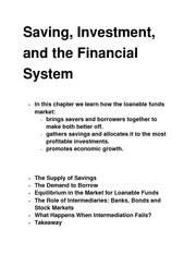 Saving, Investment  class notes