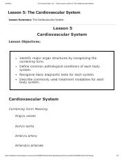 Lesson 5 - The Cardiovascular System