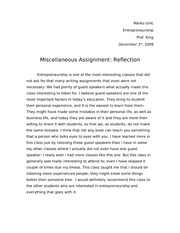 Reflection Paper - Enrprnrshp