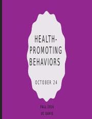 Lecture 9. Health-promoting behaviors