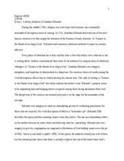 final essay literary analysis edwards english h essay  final essay literary analysis edwards 1 english 1302h essay 1 literary analysis of jonathan edwards during the middle 1700s religion was a hot topic