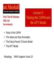 Lecture 6 Testing CAPM.ppt