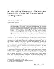 An International Comparison of Achievement Inequality in Within- and Between-School Tracking Systems