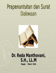 Prapenuntutan Dan Surat Dakwaan Kuliah Umum Reda Mantovani