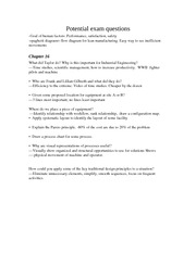 IE210 Potential exam questions