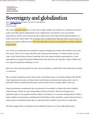 Globalisation and sovereignty - 2006 CFR