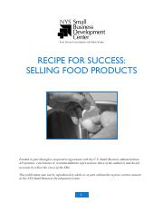 NYS SBDC - Recipe for Success - Selling Food Products