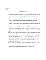 Proposal for essay #2