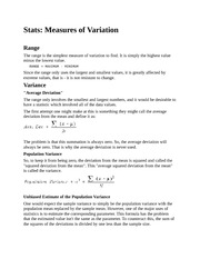 Stats Measures of Variation