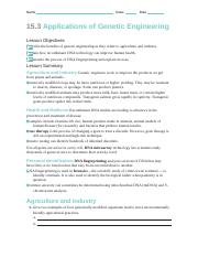 Worksheet 15.3 Applications of Genetic Engineering