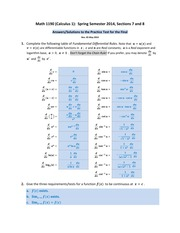 Math 1190 -- Practice Test for the Final (ANSWERS--SOLUTIONS)