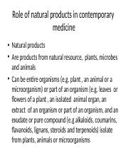 3b. Role of natural products in contemporary   medicine