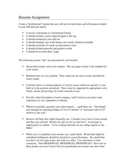 Resume  Assignment MAR 3391 professional selling