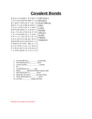Covalent Bonds Word search