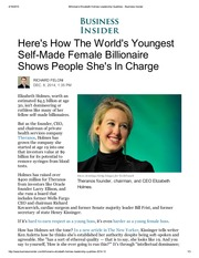 Billionaire Elizabeth Holmes Leadership Qualities - Business Insider