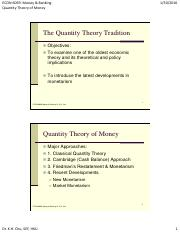 QUnatity Theory of Money