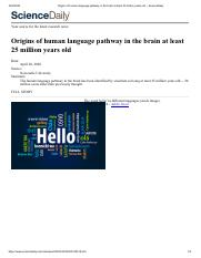 Origins of human language pathway in the brain at least 25 million years old -- ScienceDaily.pdf