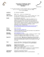 SYLLABUS CHEM 2A section C  F2011