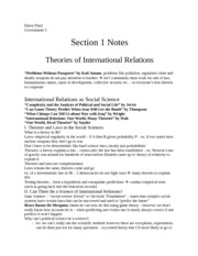 gov notes: theories of International Relations and part 1 of War and Security