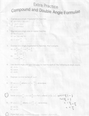 Extra Practice Compound And Double Angle Formulae Homework For MHF 4U0