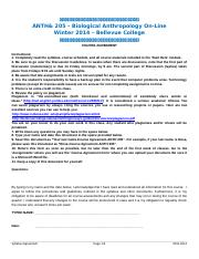 Course Agreement-ANTH 205-Winter 2014