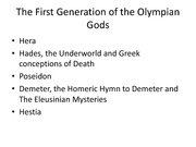 The First Generation of Olympian Gods