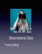 Lecture 13 - Observational Data