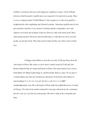 Graffiti  or Vandalism Essay