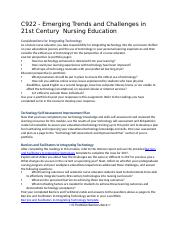 C922 - Emerging Trends and Challenges in 21st Century  Nursing Education.docx
