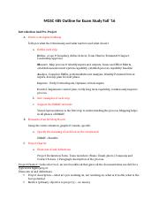 MGSC 485 Outline for Exam 1