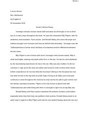Slaughter house 5 essay