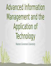 C791 - Task 2 pptx - Advanced Information Management and the