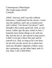 1.0 - Contemporary Monologue – The Understudy.docx